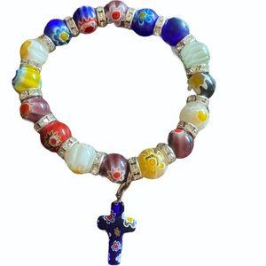 Colorful Flowers Beads Cross Bracelet Catholic